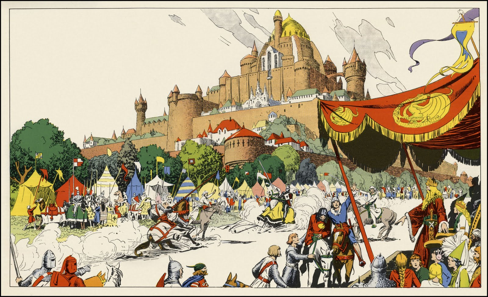 Camelot tournament scene from Prince Valiant by Hal Foster